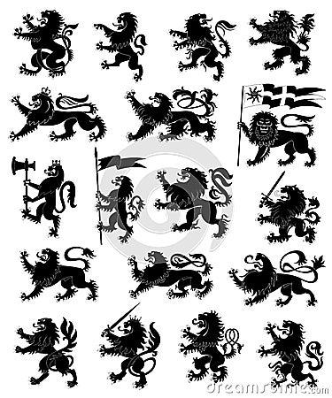Heraldic lions set