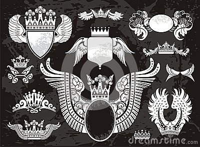 Heraldic set with wings