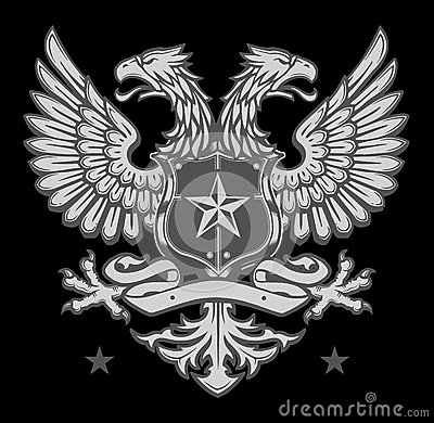 Double Headed Heraldic Eagle Crest