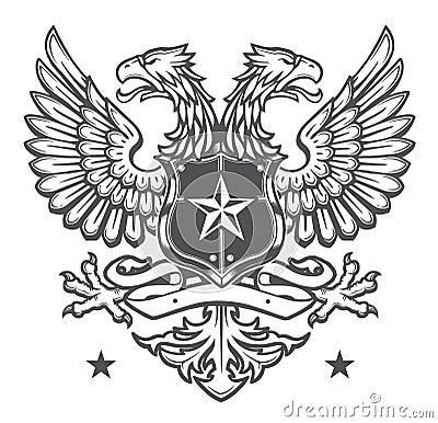 Double Headed Heraldic Eagle Crest on White