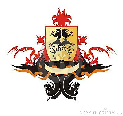 Heraldic shield with dragons