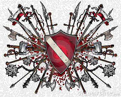 Heraldic shield and weapons