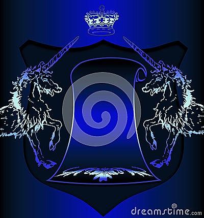 Heraldic symbols on blue