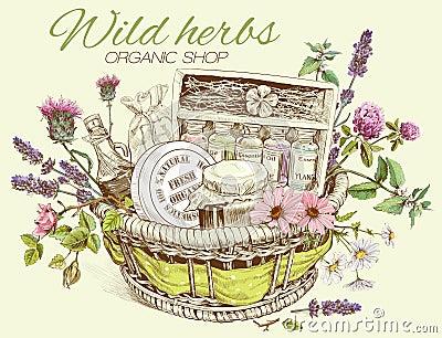 Herbal cosmetics basket Vector Illustration