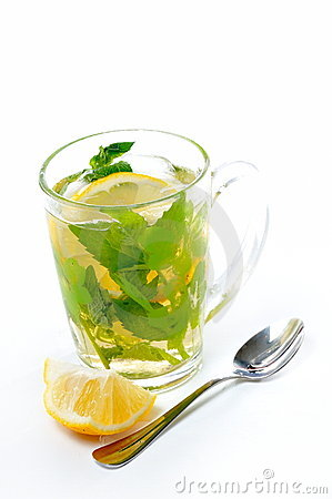 Herbal green tea with fresh mint and lemon