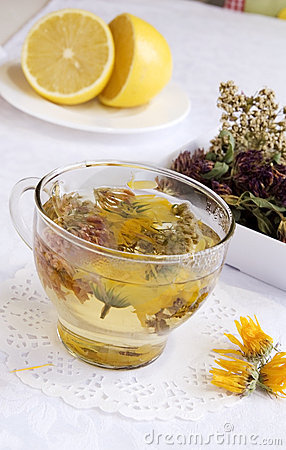 Herbal medical tea with lemon