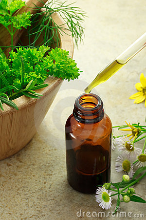 Free Herbal Medicine With Dropper Bottle Stock Photography - 20058292