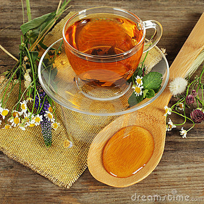Free Herbal Tea And Honey Royalty Free Stock Image - 23841656