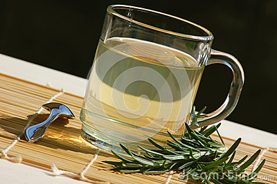 Herbal tea with fresh rosemary