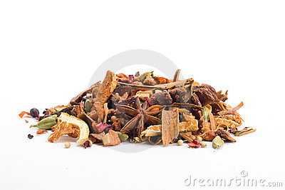 Herbal tea with leaves, fruits and herb