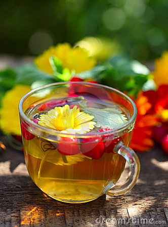 Herbal tea with marigold