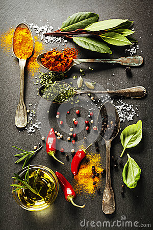 Free Herbs And Spices Selection Stock Photography - 45606482