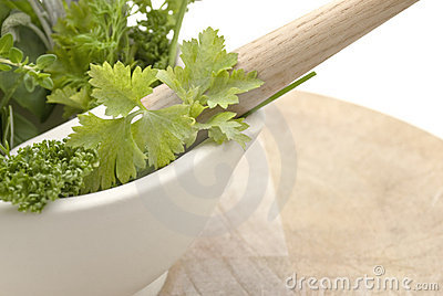 Herbs Mortar And Pestle - Lframe Royalty Free Stock Photo - Image: 8073415