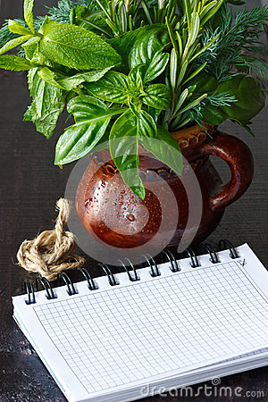 Herbs and notebook.