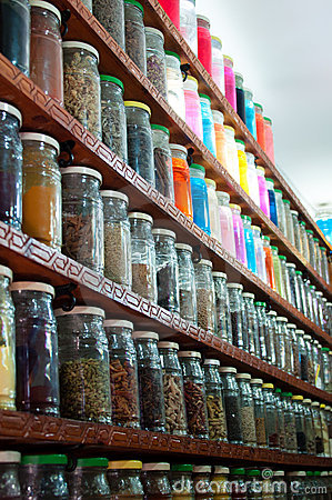 Herbs And Powders In A Moroccan Spice Shop