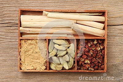 Herbs and spice in a tray