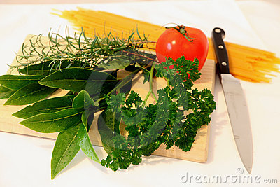 Herbs and tomato