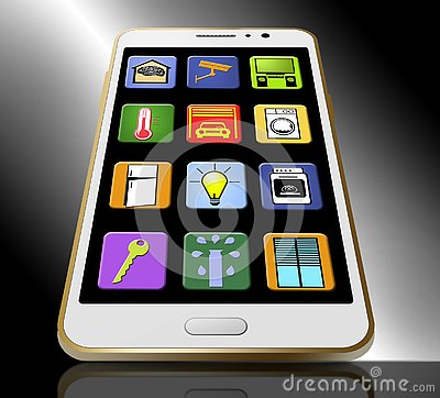 Free Here Are Smart Home Apps Displayed On The Screen Of A Cell Phone. Illustration. Stock Photo - 125570910
