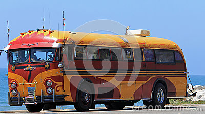 Here Comes The Hippy Bus Editorial Stock Image Image