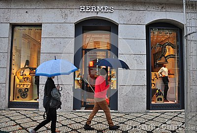 Hermes boutique in Lisbon, Portugal Editorial Stock Photo