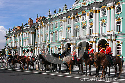 The Hermitage and Russian riders Editorial Image