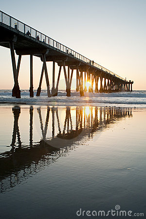 Hermosa Beach Pier Sunset Sunburst Low Tide