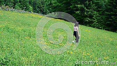 Hermosa chica caminando sobre el verde césped florido. D?a de verano claro. Bosque en el fondo. C?mara lenta almacen de video