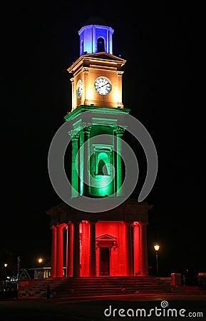Free Herne Bay Victorian Clock Tower Illuminated Royalty Free Stock Photo - 135311895