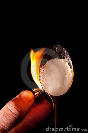 Heroin spoon flame drugs