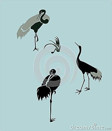 Heron Cartoon Illustration