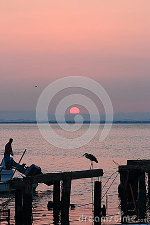 Free Heron And Fisherman Royalty Free Stock Photo - 49185625