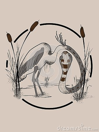 Heron body with snake head Vector Illustration