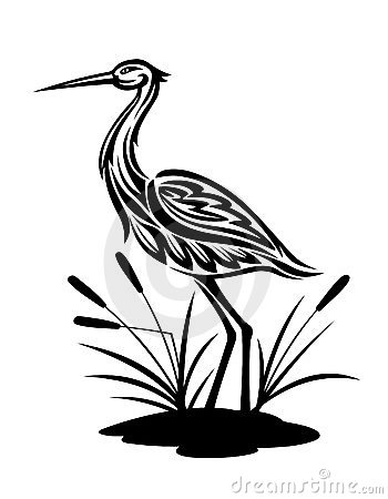 Free Heron On The Bog Landscape Royalty Free Stock Image - 23897466