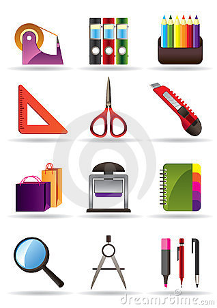 herramientas de la escuela y de la oficina
