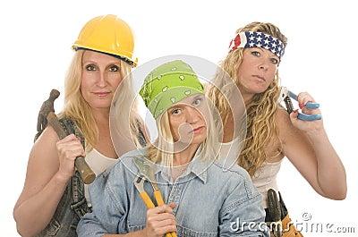 Herramientas de las señoras de la construcción del contratista de las personas