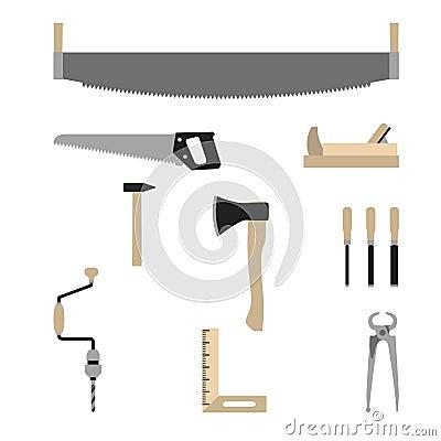 Herramientas del carpintero - vector