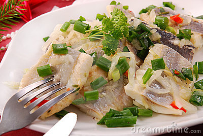 Herring in oils with chive and onion for christmas
