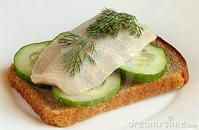 Herring On A Piece Of Rye Bread Royalty Free Stock Photos - Image: 20975718