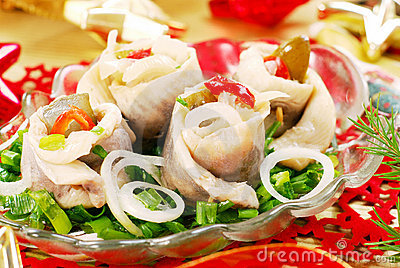 Herring Rolls With  Chive And Onion For Christmas Royalty Free Stock Photo - Image: 11905795
