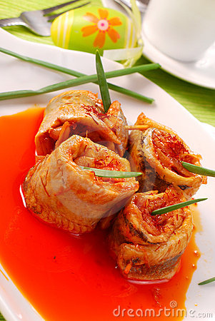 Free Herring Rolls In Salsa Sauce For Easter Royalty Free Stock Photos - 13230418
