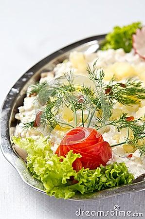 Herring salad dish