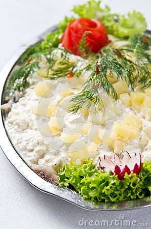 Herring salad dish