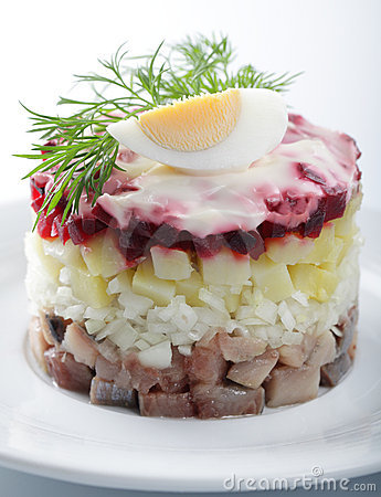 Herring salad with potatoes and beetroot
