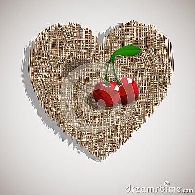Сherry on weave heart
