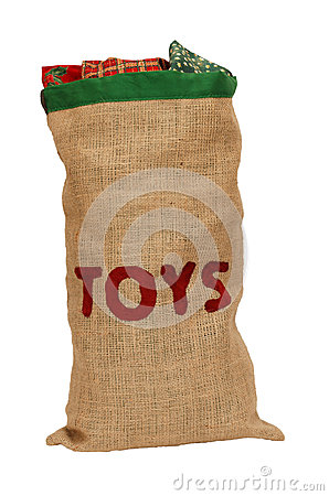 Hessian toy sack stuffed full with Christmas presents