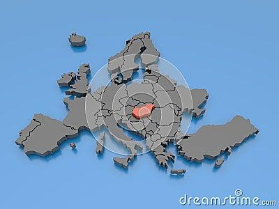 Het 3d teruggeven van een kaart van Europa - Hongarije