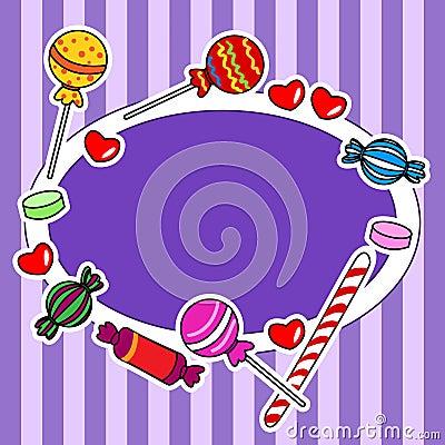 Het aanplakbord of het teken van het suikergoed in purpere kleuren
