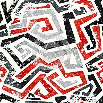 Het abstracte naadloze patroon van grunge rode gebogen lijnen