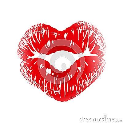 Het af:drukken van de kus in de vorm van hart