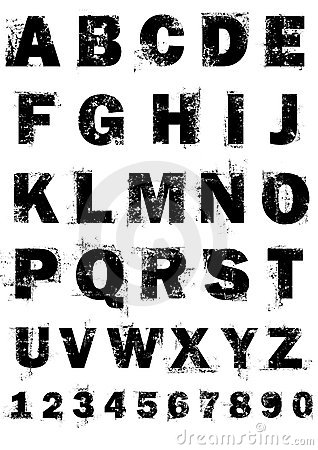 Het alfabet en de aantallen van Grunge